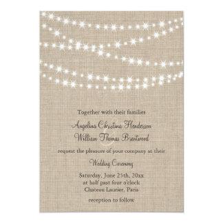 Under Twinkle Lights on Burlap Wedding Invitation