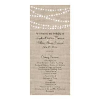 Under Twinkle Lights on Burlap Wedding Program
