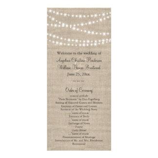 Under Twinkle Lights on Burlap Wedding Program Custom Rack Cards