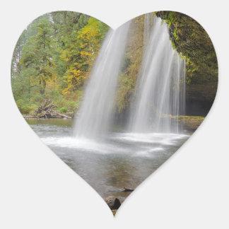 Under Upper Butte Creek Falls in Autumn Heart Sticker