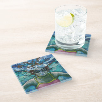 Under Water Swim Art Glass Coaster