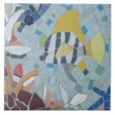 Under Water World Moonfish Mosaic Ceramic Tile