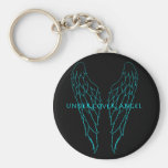 Undercover Angel Outline Blue Keychains