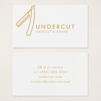 Undercut Barber Razor Logo Bold Business Card
