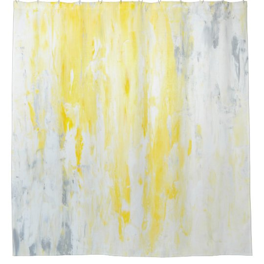 Underestimated Grey And Yellow Abstract Art Shower Curtain