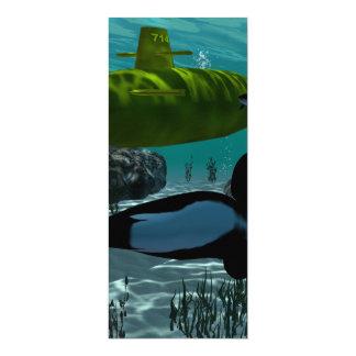 """Underewater, submarino invitación 4"""" x 9.25"""""""