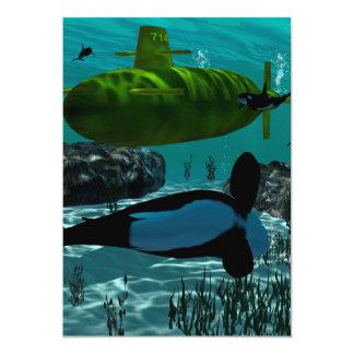 """Underewater, submarino invitación 5"""" x 7"""""""