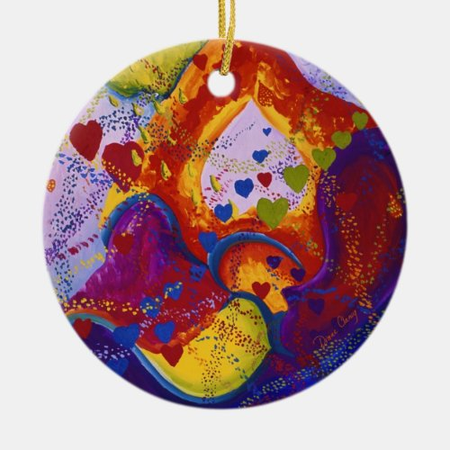 Underground – Crimson &amp&#x3B; Iris Hearts - 2 sides Ceramic Ornament