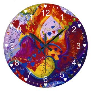 Underground – Crimson & Iris Hearts Abstract Large Clock