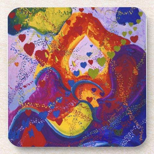 Underground – Crimson & Iris Hearts Beverage Coasters