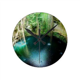 Underground Natural Cenote Round Clock