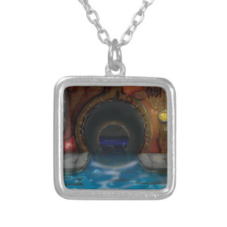 Underground Sewers Tunnel Cartoon Square Pendant Necklace