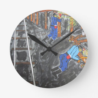 Underground Timber Men Round Clock