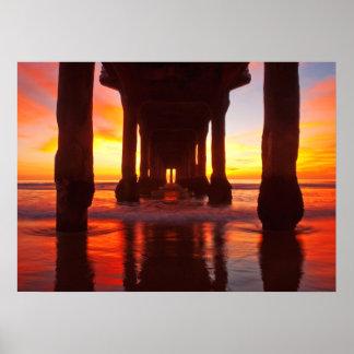 Underneath Manhattan Beach Pier Poster