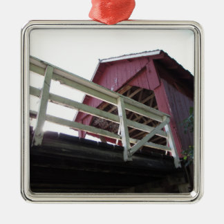 Underneath the Covered Bridge Square Metal Christmas Ornament