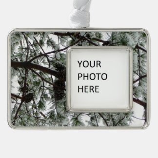 Underneath the Snow Covered Pine Tree Winter Photo Christmas Ornament