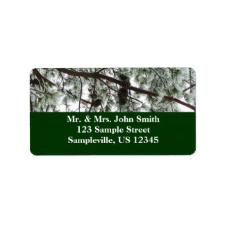 Underneath the Snow Covered Pine Tree Winter Photo Label