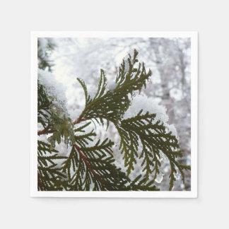 Underneath the Snow Covered Pine Tree Winter Photo Napkin