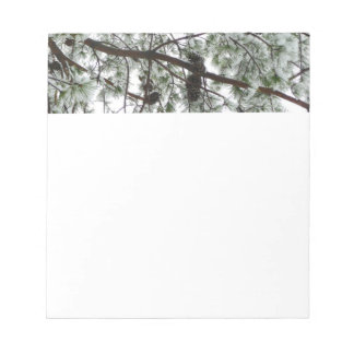 Underneath the Snow Covered Pine Tree Winter Photo Notepad