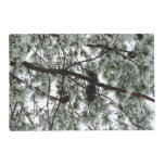Underneath the Snow Covered Pine Tree Winter Photo Placemat