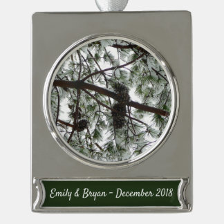 Underneath the Snow Covered Pine Tree Winter Photo Silver Plated Banner Ornament