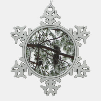 Underneath the Snow Covered Pine Tree Winter Photo Snowflake Pewter Christmas Ornament