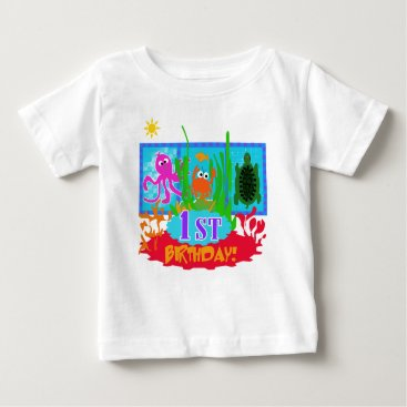 Toddler & Baby themed Undersea Adventure First Birthday Baby T-Shirt