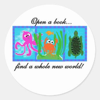 Undersea Adventure Open a Book Classic Round Sticker