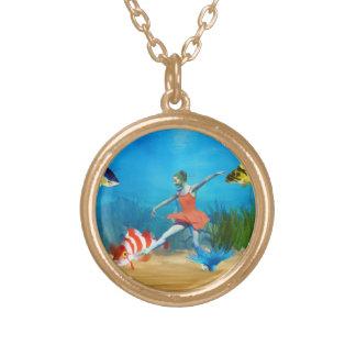Undersea Ballet Round Pendant Necklace