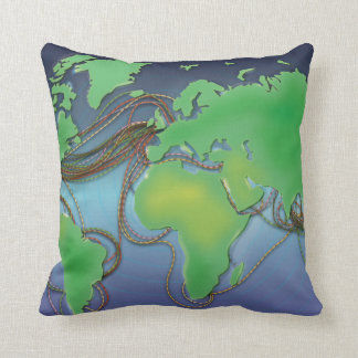 UnderSea Communication wires Throw Pillow