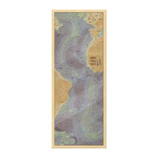 Undersea Map of Atlantic in Birdseye Maple Canvas Print