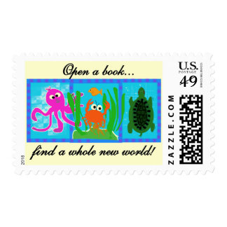 Undersea Open a Book Tshirts and Gifts Postage Stamp