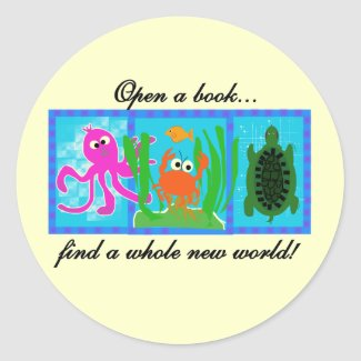 Undersea Open a Book Tshirts and Gifts sticker