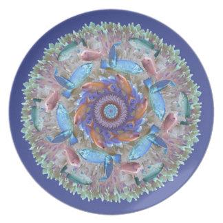 Undersea Pastel Mandala Party Plate