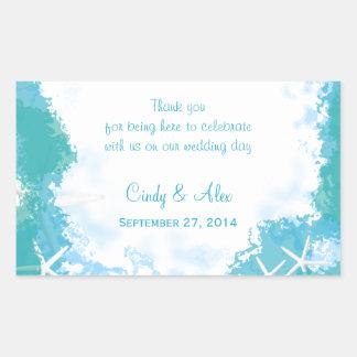 Undersea Stars Large Wedding Favor Labels Rectangular Sticker