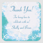 Undersea Stars Thank You Favor Label Square Stickers