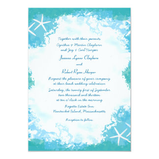 Undersea Stars Tropical Aqua Wedding Invitation