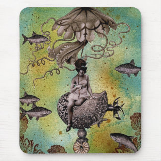 Undersea Steampunk Jellyfish Mouse Pad