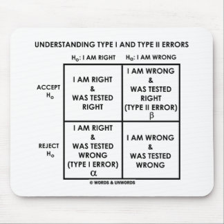 Understanding Type I And Type II Errors Statistics Mouse Pad