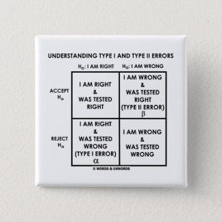 Understanding Type I And Type II Errors Statistics Pinback Button