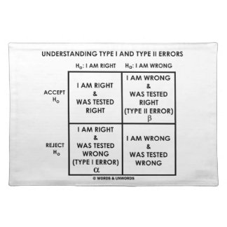 Understanding Type I And Type II Errors Statistics Cloth Placemat