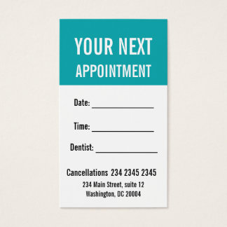 Understated Elegance BOLD Appointment Reminder Business Card