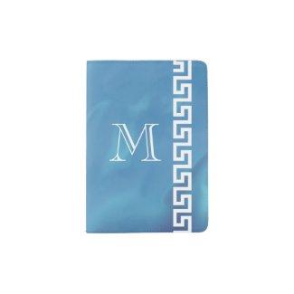 Understated Elegant Blue Watercolor Greek Key Passport Holder