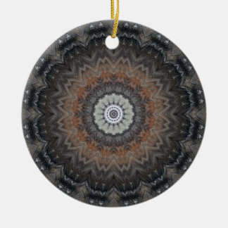 Understated Silver and Black Mandala Double-Sided Ceramic Round Christmas Ornament