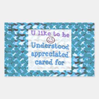 Understood,APPRECIATED, Cared  WISDOM LOWPRICE Rectangle Sticker