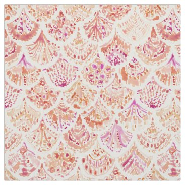 Beach Themed UNDERTOW Coral Watercolor Mermaid Scales Fabric