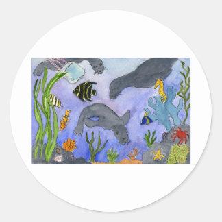 Underwater 2 classic round sticker
