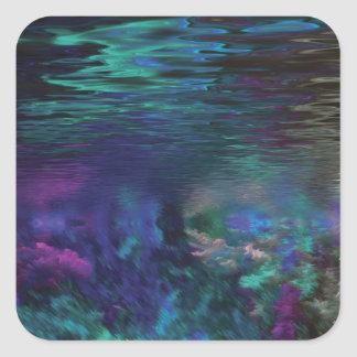 Underwater Abstract Art Square Sticker