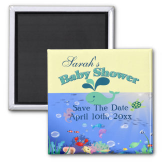 Underwater Adventure Baby Shower Boy Or Girl 2 Inch Square Magnet