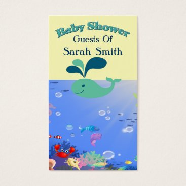 Beach Themed Underwater Adventure Baby Shower Boy Or Girl Business Card